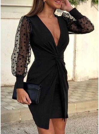 Jednolita Długie rękawy Bodycon Nad kolana Mała czarna/Przyjęcie/Elegancki Sukienki