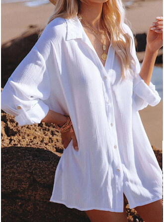 Solid Color V-Neck Casual Cover-ups Swimsuits