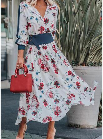 Nadrukowana/Kwiatowy Długie rękawy/Rękaw latarnia W kształcie litery A Casual/Elegancki Maxi Sukienki