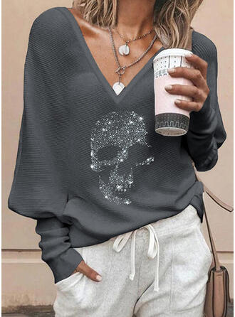 Sequins V-Neck Long Sleeves Casual Knit Blouses