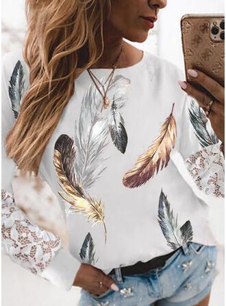 Nadruk usta Koronka Okrągły dekolt Długie rękawy T-shirty