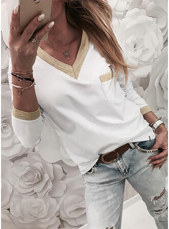 Color Block V-Neck Long Sleeves T-shirts