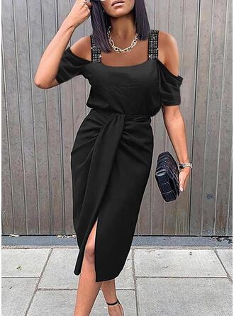 Jednolity cekiny Krótkie rękawy cold ramion rękaw Pokrowiec Długośc do kolan Mała czarna/Elegancki Sukienki