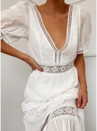 Koronka/Jednolita Rękawy 1/2/Bufiaste rękawy W kształcie litery A Casual/Elegancki Maxi Sukienki