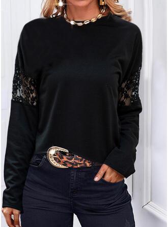 Jednolity Koronka Okrągły dekolt Długie rękawy T-shirty