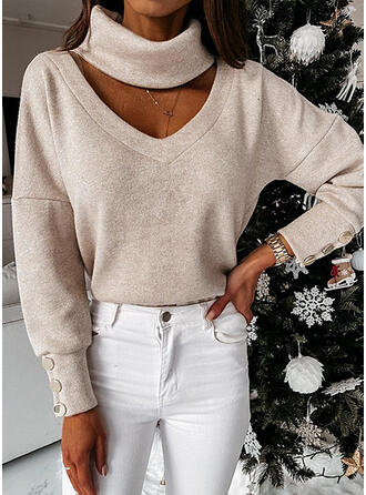 Solid High Neck Long Sleeves Button Up Casual Blouses