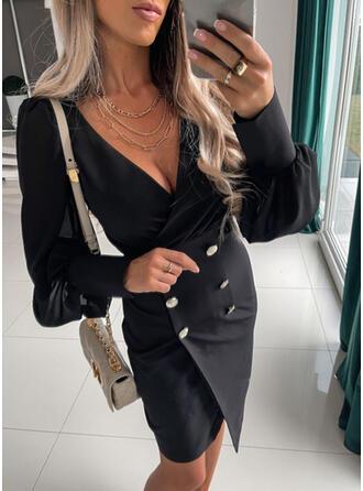 Jednolity Długie rękawy Lantern Sleeve Bodycon Nad kolana Mała czarna/Elegancki Sukienki