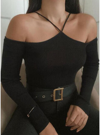 Solid Cold Shoulder Long Sleeves Sexy Knit Blouses
