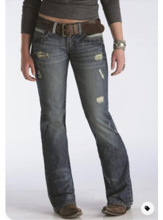 Jednolity Dżinsowa Długo Elegancki Zabytkowe Duży rozmiar Pocket Ripped Dżinsy
