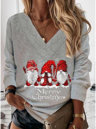 Boże Narodzenie Nadruk Wytłaczany Święty Mikołaj Dekolt w kształcie litery V Długie rękawy Świąteczna bluza