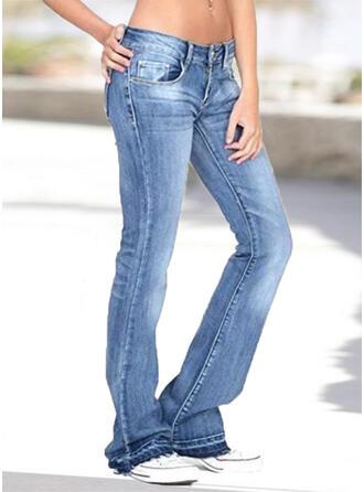 Jednolity Marszczona Duży rozmiar Długo Nieformalny Elegancki Dżinsy