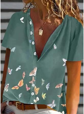 Zwierzęcy Dekolt w kształcie litery V Krótkie rękawy Zapięcie na guzik Casual Bluski koszulowe
