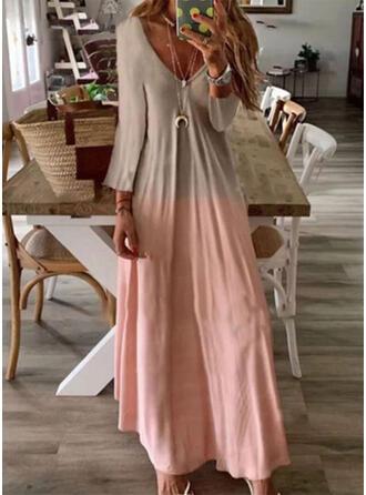 Tie Dye Długie rękawy W kształcie litery A Casual Maxi Sukienki