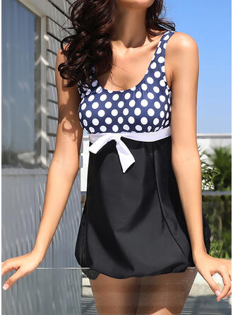 Dot Knotted Strap Boho Exquisite Novelty Swimdresses Swimsuits