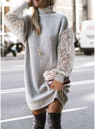 Jednolity Koronka Golf Casual Sukienka sweterkowa