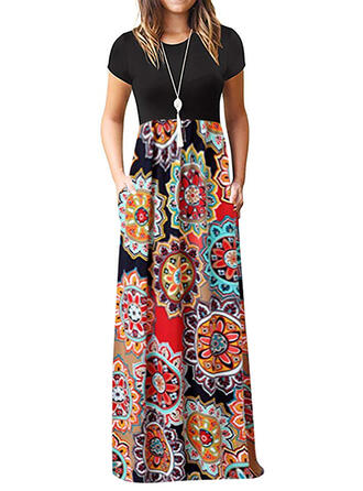Print/Floral Short Sleeves Sheath Casual/Boho/Vacation Maxi Dresses