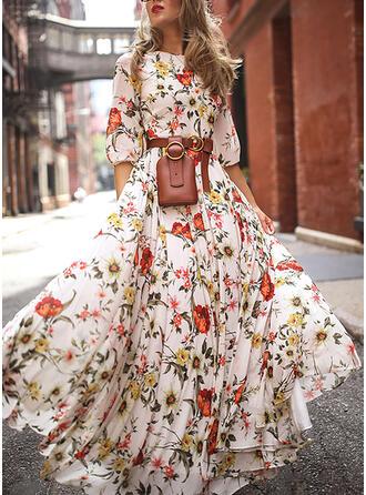 Nadrukowana/Kwiatowy Rękawy 3/4 W kształcie litery A Łyżwiaż Elegancki Maxi Sukienki