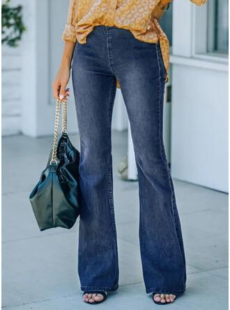 Jednolity Dżinsowa Długo Elegancki Zabytkowe Duży rozmiar Biuro / Biznes Pocket Dżinsy