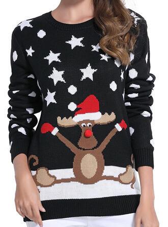 Damskie Poliester Wydrukować Renifer Brzydki świąteczny sweter