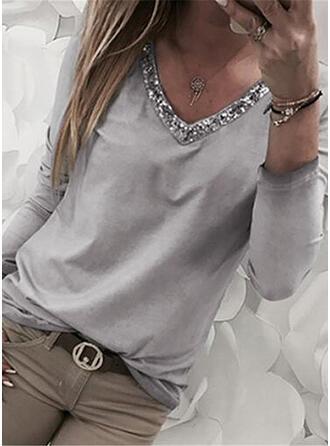 Jednolity Dekolt w kształcie litery V Długie rękawy Casual Bluzki