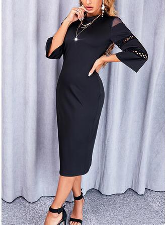 Jednolity Rękawy 3/4 Pokrowiec Mała czarna/Elegancki Midi Sukienki
