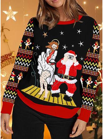 Damskie Nadruk W paski Święty Mikołaj Brzydki świąteczny sweter