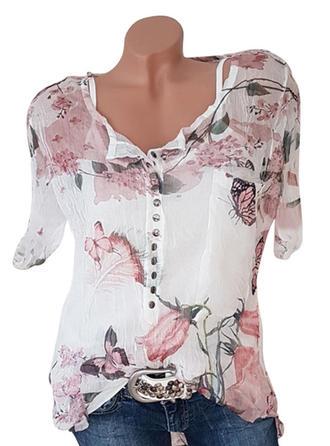 Kwiatowy Zwierzęcy Dekolt w kształcie litery V Krótkie rękawy Zapięcie na guzik Casual Elegancki Bluzki
