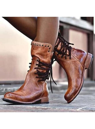 Dla kobiet Skóra ekologiczna Obcas Slupek Kozaki Round Toe Z Nit Sznurowanie obuwie