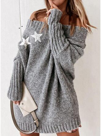 Nadruk Dekolt typu Carmen Nieformalny Swetry