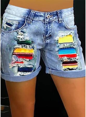 Blok Koloru Nadruk Dżinsowa Nad kolanem Nieformalny Duży rozmiar Przeszycia Pocket Przycisk Spodnie Szorty Dżinsy