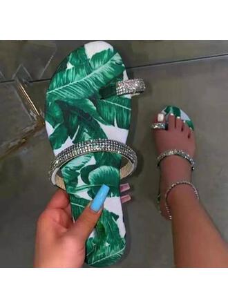 Women's PU Flat Heel Sandals Flats Peep Toe Slippers Toe Ring With Rhinestone Applique shoes