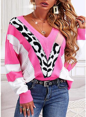 Nadruk Blok Koloru lampart Dekolt w kształcie litery V Nieformalny Swetry