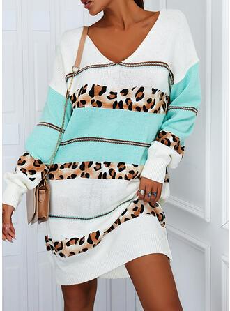 Blok Koloru lampart Dekolt w kształcie litery V Nieformalny Sukienka sweterkowa