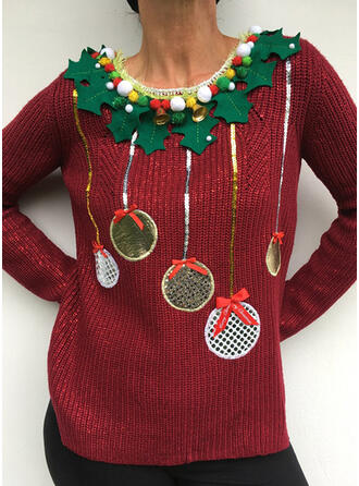 Damskie Nadruk Brzydki świąteczny sweter