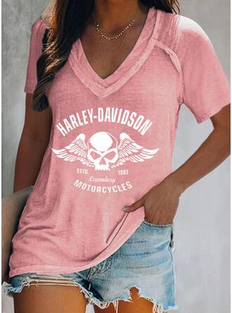 Figura Nadruk Dekolt w kształcie litery V Krótkie rękawy T-shirty