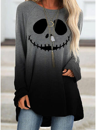 Wydrukować Halloween Gradient Okrągły Dekolt Długie rękawy Bluza