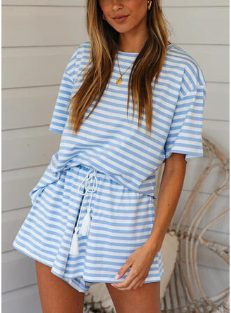 Striped Drawstring Casual Striped Suits