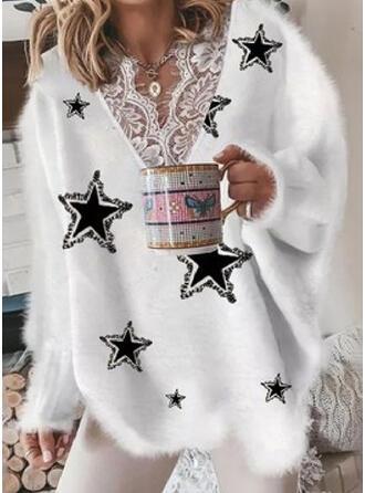 Nadruk Koronka Dekolt w kształcie litery V Nieformalny Swetry