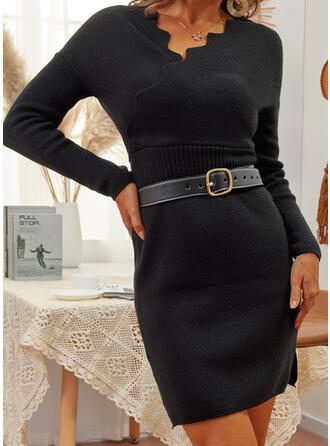 Jednolity Długie rękawy Nieformalny Sukienki