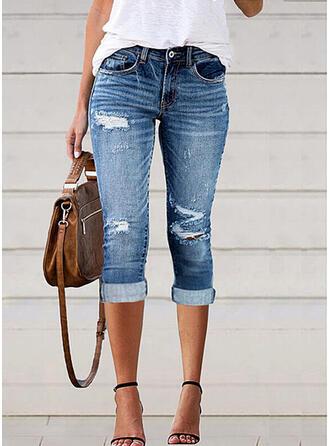 Jednolity Dżinsowa Capris Duży rozmiar Biuro / Biznes Pocket shirred Ripped Spodnie Dżinsy
