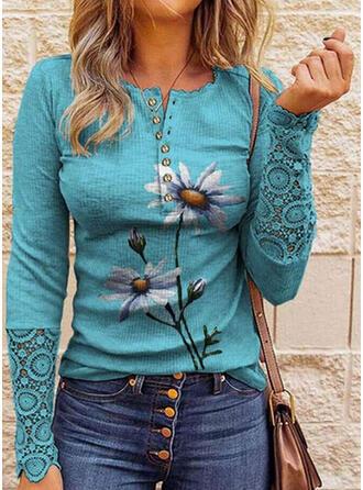 Nadruk Kwiatowy Koronka Okrągły dekolt Długie rękawy Nieformalny Bluzki