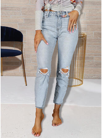 Ripped Tassel Sexy Plain Pants