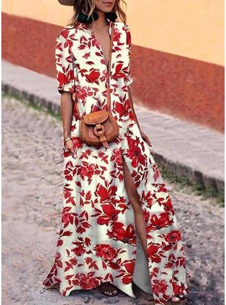 Nadrukowana/Kwiatowy Rękawy 1/2 Koktajlowa Casual Maxi Sukienki