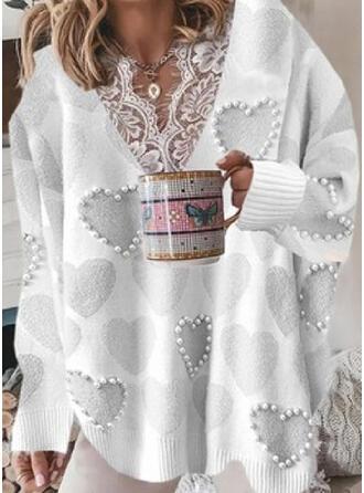 Nadruk Serce Koronka Dekolt w kształcie litery V Nieformalny Swetry