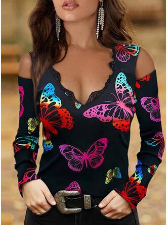 Nadruk butterfly Koronka Zimne ramię Długie rękawy cold ramion rękaw Elegancki Bluzki