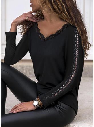 Jednolity Koronka Dekolt w kształcie litery V Długie rękawy Elegancki Bluzki