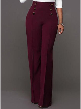 Patchwork Pockets Shirred Long Elegant Sexy Pants