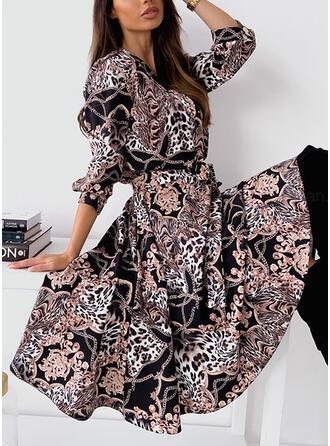 Nadruk/lampart Długie rękawy Sukienka Trapezowa Łyżwiaż Nieformalny Midi Sukienki