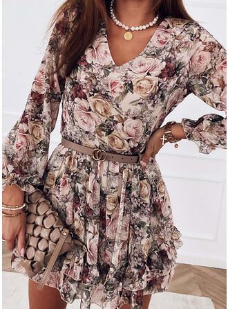 Nadrukowana/Kwiatowy Długie rękawy W kształcie litery A Nad kolana Casual Łyżwiaż Sukienki