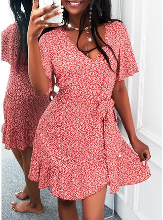 Nadruk Krótkie rękawy Rękawisko Sukienka Trapezowa Długośc do kolan Nieformalny Łyżwiaż Sukienki
